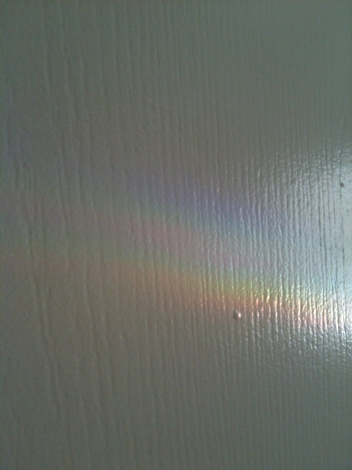 Rainbow that my fluorite crystal made when the sun hits it…