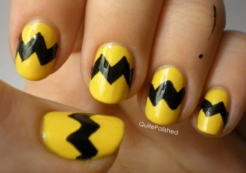 quitepolished:  Charlie Brown nails :)  For the lines I used the Wet n Wild brush that I mentioned earlier, and I think they turned out pretty well, especially my middle finger!