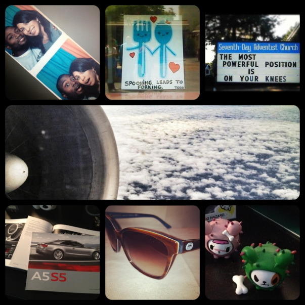"And it don't stop! Another photo a day recap collage! Here you go!! Day 11: someone i talked to today…this guy in the photo. we don't miss a day without talking/texting/skyping…something. but on this special day he helped me grab a rental while the whip was still in the shop. thanks for driving me around!! Day 12: fork…saw this on a window at the Grove/Farmer's Market a couple years back. ""spooning leads to forking"" Day 13: a sign…""the most powerful position is on your knees"" hmmmm. i'll leave that one alone right now. Day 14: clouds…taken from window seat view on the way to Chicago.  Day 15: car…while my car gets worked on, i decided to take a moment to consider purchasing a new one. an Audi A5 perhaps. Maybe the TT. *kanye shrug* Day 16: sunglasses…gucci. one of my favorite pair. the blue and the brown make such a great combo.  Day 17: green…last time it was the medicinal type. this time its Tokidoki. Love my little cactus.  And there you have it. Days 11 - 17 of March."