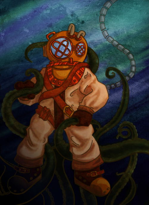 My friend Joel asked me to color this Deep Sea Diver he drew for me, so I thought this would be an interesting time to experiment with textures a bit!Probably should have tried to do more but I'm very happy where it's at.Gonna try to push myself to do more art.kjalskjfdlakj