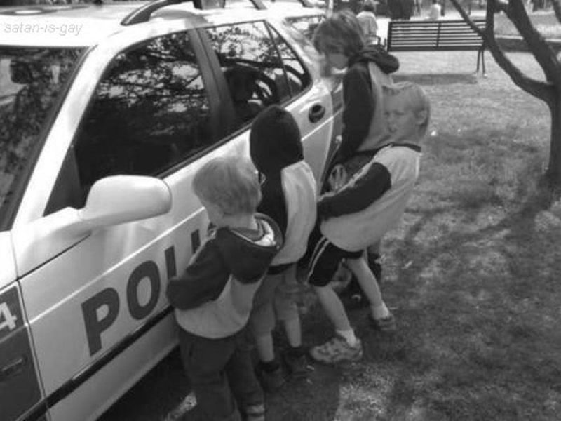 5pg:  kids pissing on a cop car