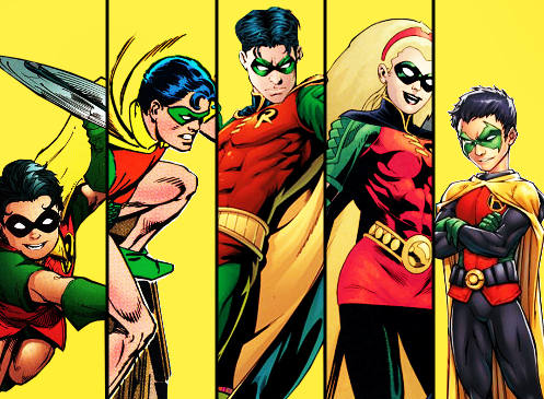 circusbird:  Dick, Jason, Tim, Stephanie and Damian. Precious Robin babies.
