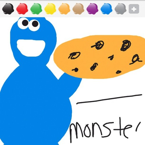 @learn2drawsomething play me (NICOLECONCEP) 😜 #cookiemonster #cookie #drawsomething #artist #me #art #self #i #iphoneonly #screenshot #nofilter #nomnomnom #chocolatechipcookie #playme #game #boss (Taken with instagram)