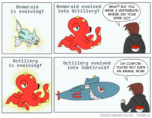 Remoraid and Octillery, the weirdest pokemon evolutionary family is getting a crazy new evolution!  Also Bonus Final Evolution Doodle! :  Awww yeah Pokemons.