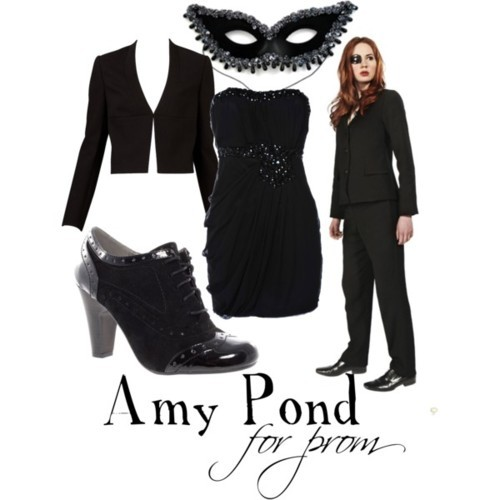 "Amy Pond from ""The Wedding of River Song"" for a masquerade-themed prom And find and eye drive here.  Chiffon cocktail dress, £15Cropped jacket, $50Rascal lace up shoes, £30Masquerade Ball Masks 