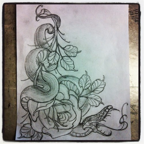 haubs:  sketch of the day (Taken with Instagram at Nice Guy Tattoo)  my favorite artist, hopefully ill get my shins done rather soon with his work, by him