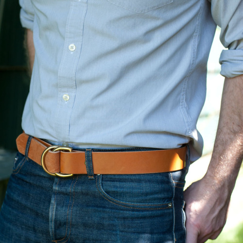 D-ring belt by Wood and Faulk - handmade in Portland.