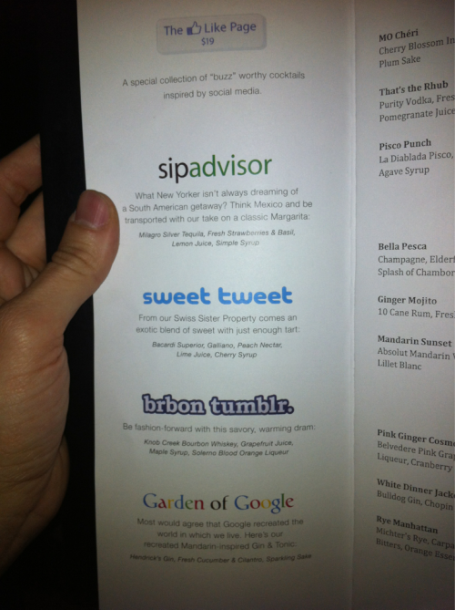 hragv:  The Mandarin Oriental cocktail menu has social media cocktails. Hilarious.
