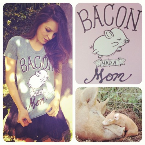 "My ""Bacon Had a Mom"" t-shirt from Herbivore Clothing Company arrived today! I love it.  Pigs are friends, not food. I don't eat my friends."