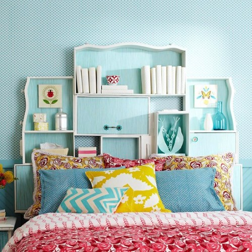 Awesome idea for a headboard. via BHG