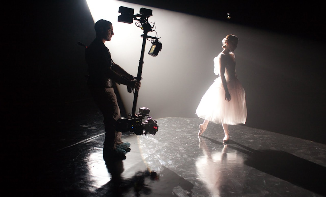 Natalie Portman and a steadicam operator on the set of Black Swan.