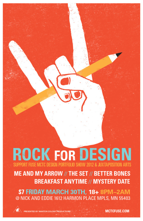Rock For Design, poster design by Jade Bayonet member of the FUSE Art Direction team, was plastered all over the Twin Cities today! The PR team was proud to hang over 100 posters Uptown, Downtown, Northeast, St. Paul, Seward, South and of course on the MCTC campus. Everywhere we went we got compliments on the design, it stood out on bulletin boards, shop windows and the occasional telephone pole! Super excited for Rock For Design our benefit concert next Friday March 30th at Nick and Eddie!  Just confirmed today: there will be a silent auction at the concert featuring prints of FUSE designer's original art. Come out to rock and go home with new art from the Twin Cities' hippest new designers.