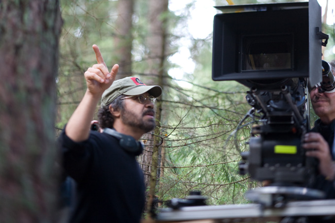Director Edward Zwick on the set of Defiance.