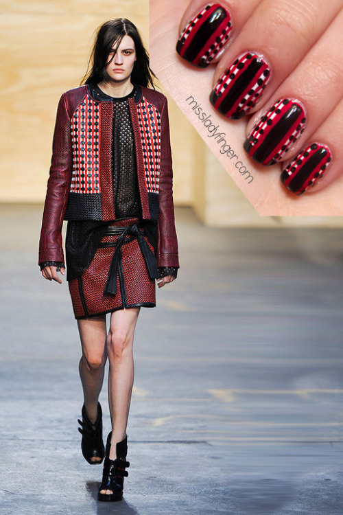 MANICURE MUSE: Proenza Schouler AW'12 Two words best describe Jack and Lazaro's Fall '12 collection: oversized and angular. This season Proenza Schouler pushes silhouettes forward with scaled-up varsity jackets and kimono-wrapped skirts fully equipped with karate-inspired black belts. I'm pining over this look in particular which has an oriental yet all-American vibe.  This post is dedicated to Jena of chicityfashion.com, who not only is a fellow Chicago gal, but also shares my love for Proenza Schouler. Check out her Miss Ladyfinger interview here! To emulate this look, I used Brilliant White by CND, Glenn by Julep Nail Vernis and Vinyl by Orly. To get these ladyfingers:  1. Paint your full nail white 2. Using a nail art brush, paint thin red vertical stripes across 3. Apply a black tip along the bottom of your nail 4. Paint a red stripe down the center 5. Using a nail art brush, paint a thinner black line in the center of the red 6. Using a dotter tool (or a bobby pin), apply black dots in between the thin red lines 7. Top it off with top coat (Photo: elle.com)