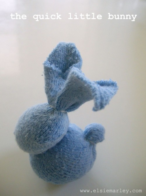 DIY Quick Baby Sock Bunny. Love this. Tutorial from Elsie Marley here.