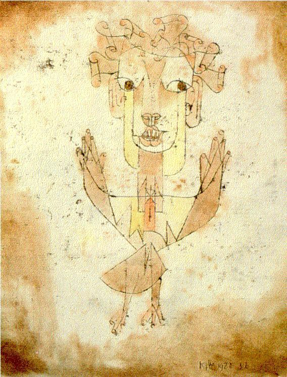 Paul Klee, Angelus novus (1920)     A Klee painting named 'Angelus Novus' shows an angel looking as though he is about to move away from something he is fixedly contemplating. His eyes are staring, his mouth is open, his wings are spread. This is how one pictures the angel of history. His face is turned toward the past. Where we perceive a chain of events, he sees one single catastrophe which keeps piling wreckage and hurls it in front of his feet. The angel would like to stay, awaken the dead, and make whole what has been smashed. But a storm is blowing in from Paradise; it has got caught in his wings with such a violence that the angel can no longer close them. The storm irresistibly propels him into the future to which his back is turned, while the pile of debris before him grows skyward. This storm is what we call progress.   From:  On the Concept of History by Walter Benjamin