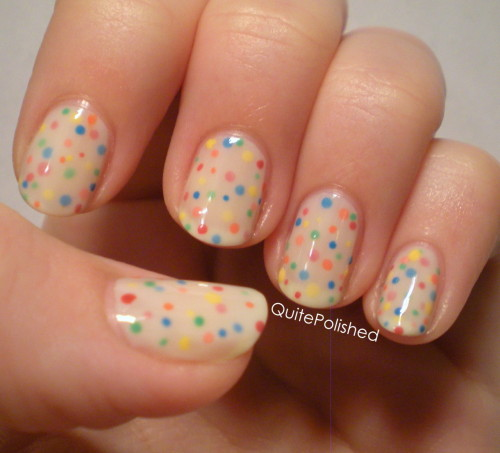 quitepolished:  Do these remind anyone else of funfetti? I talk about how I did them here. I've also been told they remind people of sprinkles on a cupcake and strawberry poptarts. No matter what they remind you of, I think they're super cute :)
