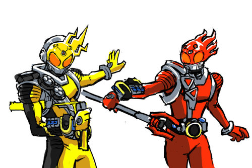 kamen-rider-equine:  Kamen Rider Meteor Elec and Fire States by ~hugohugo Would've been awesome to see in Episode 20 instead of just electric punches.  ^^^^ I WAS SO FUCKING PISSED WITH HOW ANTI-DRAMATIC IT WAS. This pleases the yearning I held inside until this point.