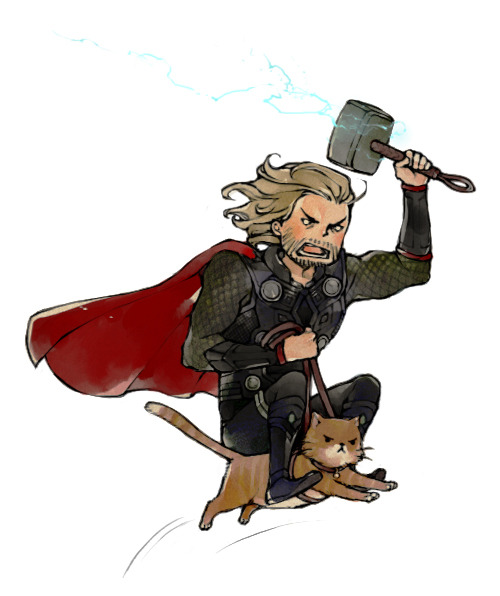 Fan art of the day: Thor riding a cat into battle.  lanimalu:  This is Thor riding a cat and I regret nothing. :D""