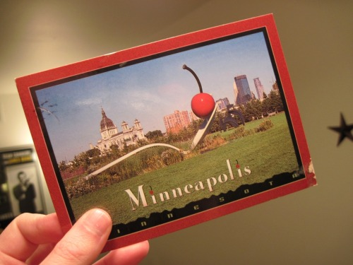 fangheart:  Minneapolis postcard my best friend sent me.  Postcards on a Tuesday