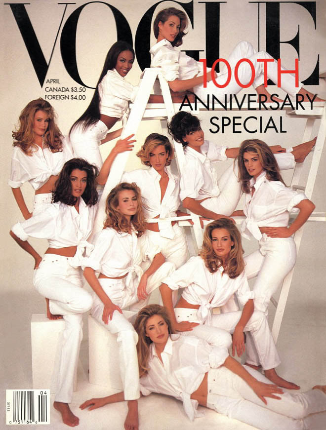 Christy Turlington, Linda Evangelista, Cindy Crawford, Karen Mulder, Elaine Irwin, Niki Taylor, Yasmeen Ghauri, Claudia Schiffer, Naomi Campbell & Tatjana Patitz photographed by Patrick Demarchelier for Vogue, April 1992 This cover was the peak of the supermodel mountain.  I had it in my hands the summer of '92 and I didn't bring it home with me and I regret that decision EVERY DAY OF MY LIFE.