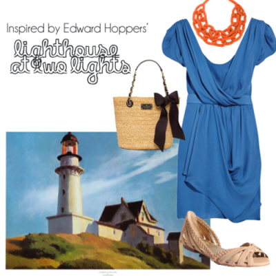 Dress- Net-A-Porter Purse- Kate Spade Necklace- charmandchain.com Shoes- Seychelles When I made this outfit I was thinking about what I'd like to wear if I were visiting this lighthouse. I would want to wear a flowy dress like this one from Net-A-Porter. The blue of the dress is a tad different than the sky, but I think it works. The overall outfit definitely has a nautical theme with the braided detail in the shoes & the chain-like necklace. I love the red that I pulled out of the lighthouse for the necklace. Originally Posted March 2011