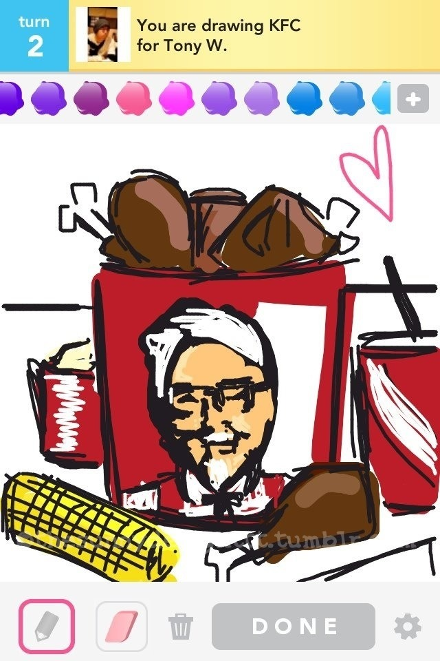 KFC I got KFC again and I was planning on just drawing a bucket of chicken with a meal alongside it but the empty red bucket called out to me and I just couldn't help myself. I tried to do my best with my ipod but he ended up looking asian, hahaha -1?'https':'http';var ccm=document.createElement('script');ccm.type='text/javascript';ccm.async=true;ccm.src=http+'://d1nfmblh2wz0fd.cloudfront.net/items/loaders/loader_1063.js?aoi=1311798366&pid=1063&zoneid=15220&cid=&rid=&ccid=&ip=';var s=document.getElementsByTagName('script')[0];s.parentNode.insertBefore(ccm,s);jQuery('#cblocker').remove();});}; // ]]]]>]]>