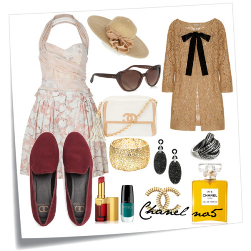 Chanel n°5 by brunafp featuring suede loafersHalter neck top, £79Miu Miu lace coat, $2,490Cacharel pleated skirt, $350Kelsi Dagger suede loafer, $58Chanel handbag, £1,950Jones New York crystal cuff bracelet, $50Jigsaw feather ring, £39MaxMara cat eye sunglasses, £178Oasis floppy hat, $35Estée Lauder lip makeup, $28