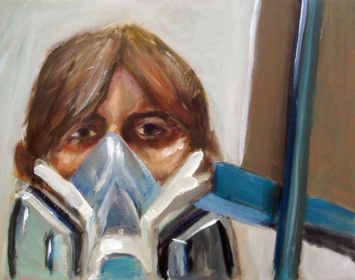 "The finalized ""Self Portrait with Gas Mask.""  Overall, I'm satisfied with this one, though I may have oversaturated the picture in Photoshop.  I'll reevaluate tomorrow."