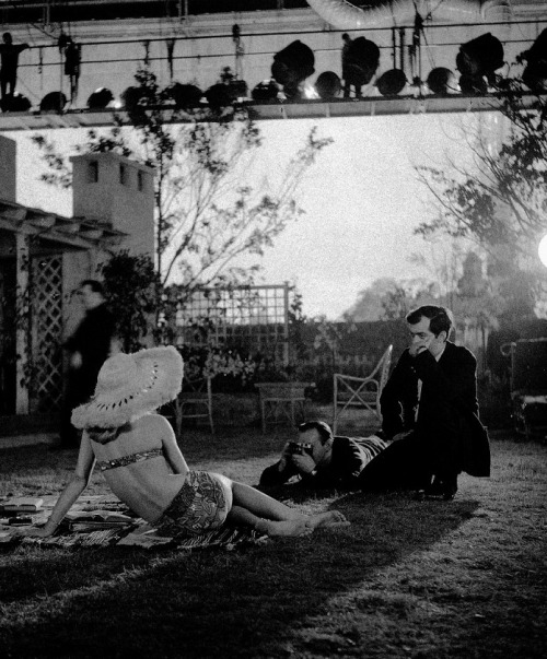 "Stanley Kubrick & Sue Lyon on the set of Lolita (1962, dir. Stanley Kubrick) ""From the first, she was interesting to watch—even in the way she walked in for her interview, casually sat down, walked out. She was cool and non-giggly. She was enigmatic without being dull. She could keep people guessing about how much Lolita knew about life."" -Kubrick, 1962 (via)"