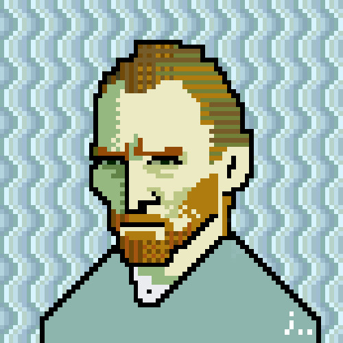 gabeweb:  Pixel Art: Vincent Willem van Gogh (by joojaebum)