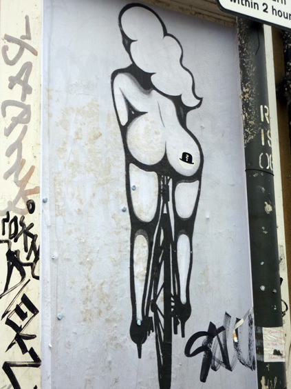 Bicycle girl graffiti ,london by ideacat on Flickr.