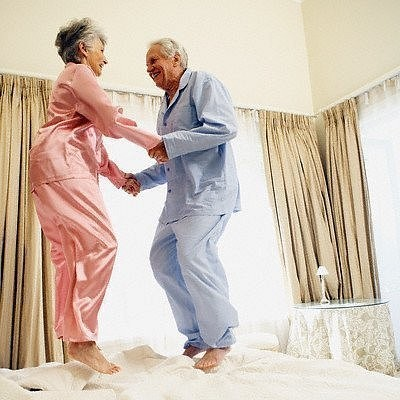Old couple jumping on the bed.  Also what I want in my later years of marriage.