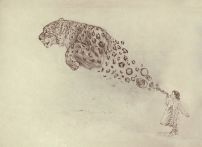 "fuckyeahpsychedelics:  ""Bubbles The Snowy Leopard"" by Darel Seow"