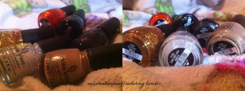 My Hunger Games polishes. I only chose the ones I like from the collection. I currently have: Fast Track- nude-y, taupe-y color with tiny gold specs Riveting- semi dark bright orange with tiny gold specs Luxe and Lash- flakies with a milky clear base Electrify- gold and red glitter on a clear base Stone Cold- matte black with silver specs Smoke and Ashes- black with green, blue, and silver specs These are the ones that I felt I could rock and are not in my current collection. I would love to have them all but I don't think some of the colors would work with my skin color. I may return for Agro (dark green) though.