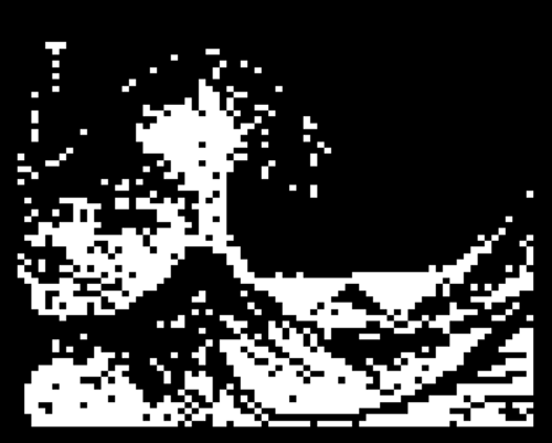 xn—k1ht:  Teletext adaptation of The Great Wave off Kanagawa (神奈川沖浪裏 Kanagawa Oki Nami Ura)