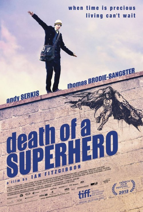 First poster for, DEATH OF A SUPERHERO. The film is about a young comic book illustrator with Lukemia. Living vicariously through his drawings. He enters into the world of his comic book creation, The Miracle Man. So that he may escape the harsh reality, that is his life.  The film stars, Andy Serkis and Michael McElhatton. You can see the film via VOD, starting April 17th. Or you can wait and see it in a theater. When it is released on May 4th.
