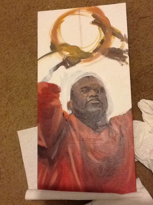 In progress. 12x24 acrylic. For Radioshaq 2 Shaqsploitation April 7th at the Peacock Room.