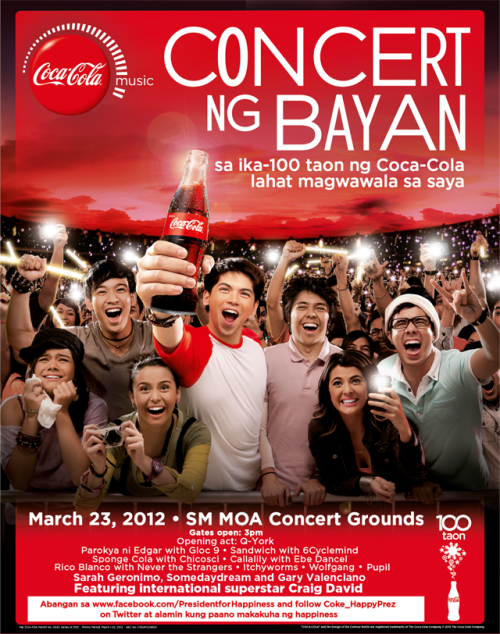 This is happening on Friday March 23 at the Mall Of Asia grounds! Coca-Cola Concert Ng Bayan for Coke's 100th year celebration! Check out my posts on some of the rehearsals of the artists that are going to perform.  PHOTOS: Coca-Cola Concert Ng Bayan Rehearsals