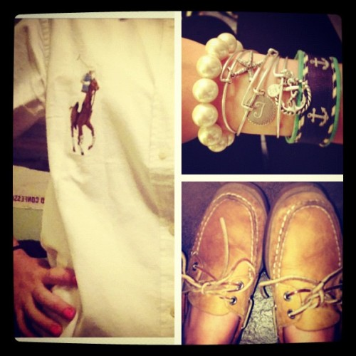 #picstitch #ootd #pearls #kjp #stack #ralphlauren #sperryday (Taken with instagram)