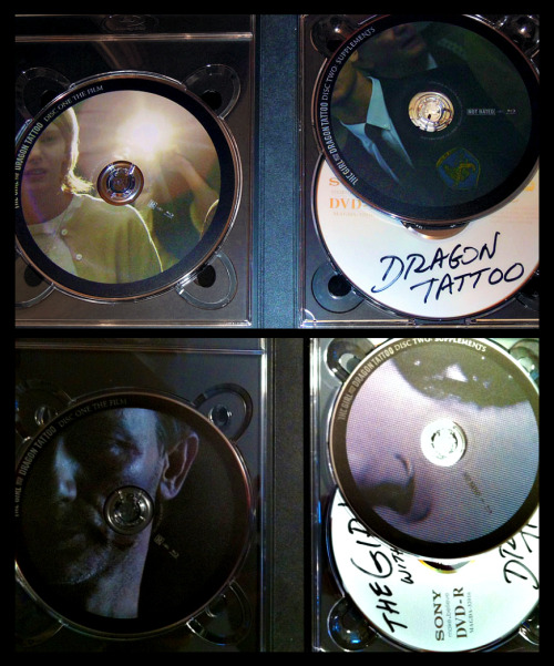 The Girl with the Dragon Tattoo film and supplement discs from the Blu-ray/DVD combo pack will be randomized (currently 3 different sets confirmed). Very interesting… In stores today, March 20th.