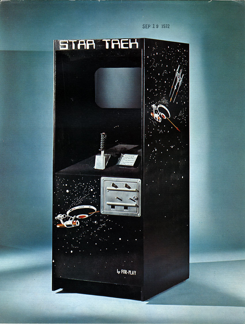 gameandgraphics:  Star Trek arcade flyer (For-Play, 1972). The game was a clone of Computer Space, released a year before.