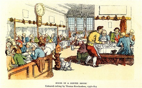 "London cafes: the surprising history of London's lost coffeehouses - Dr Matthew Green   Great article in The Telegraph today about London's 17th and 18th Century Coffee Houses!  The Starbucks on Russell Street near Covent Garden piazza is one of  London's many, cloned coffee shops. Can you imagine walking in, sitting next to a stranger and asking for the latest news? Or slamming a recent novel down next to someone's coffee and asking for their opinion before delivering yours? It's not the done thing.   But 300 years ago, precisely this kind of behaviour was encouraged in thousands of coffeehouses all over London. In 1712, the Starbucks site was occupied by Button's coffeehouse. Inside, poets, playwrights, journalists and members of the public gathered around long wooden tables drinking, thinking, writing and discussing literature into the night. Nailed to the wall, near where the Starbucks community notice board now stands, was the white marble head of a lion with wide-open jaws. The public was invited to feed it with letters, limericks and stories; the best of the lion's digest were published in a weekly edition of Joseph Addison's Guardian newspaper, entitled 'the roarings of the lion'…   Early coffeehouses were not clones of each other; many had their own distinct character. The walls of Don Saltero's Chelsea coffeehouse were adorned with exotic taxidermy, a talking point for local gentlemen scientists; at Lunt's in Clerkenwell Green, patrons could sip coffee, have a haircut and enjoy a fiery lecture on the abolition of slavery given by its barber-proprietor; at Moll King's, a near neighbour of Button's in Covent Garden, libertines could sober up after a long night of drinking and browse a directory of prostitutes, before being led to the requisite brothel on nearby Bow Street. There was even a floating coffeehouse, the Folly of the Thames, moored outside Somerset House, where jittery dancers performed waltzes and jigs late into the night…   Despite these diversifications, coffeehouses all followed the same formula, maximising the interaction between customers and forging a creative, convivial environment. On entering, patrons would be engulfed in smoke, steam, and sweat and assailed by cries of ""What news have you?"" or, more formally, ""Your servant, sir, what news from Tripoli?"" …   Coffeehouses brought people and ideas together; they inspired brilliant ideas and discoveries that would make Britain the envy of the world. The first stocks and shares were traded in Jonathan's coffeehouse by the Royal Exchange (now a private members' club); merchants, ship-captains, cartographers, and stockbrokers coalesced into Britain's insurance industry at Lloyd's on Lombard Street (now a Sainsbury's); and the coffeehouses surrounding the Royal Society galvanized scientific breakthroughs. Isaac Newton once dissected a dolphin on the table of the Grecian Coffeehouse…"