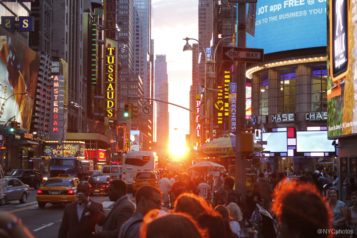 The New York Times reports that Times Square lights up the City's economy, according to a study:  The Times Square district directly and indirectly contributes one-tenth of all of the jobs in the city and $1 of every $9 of economic activity, says the study, which was commissioned by the Times Square Alliance, the de facto chamber of commerce for the district. That amounts to $110 billion in annual economic activity — about equal to the output of Portland, Ore. — emanating from the district, which the report defines as roughly a block on each side of Broadway between 40th and 53rd Streets.  Photo credit: @NYCphotos-flickr