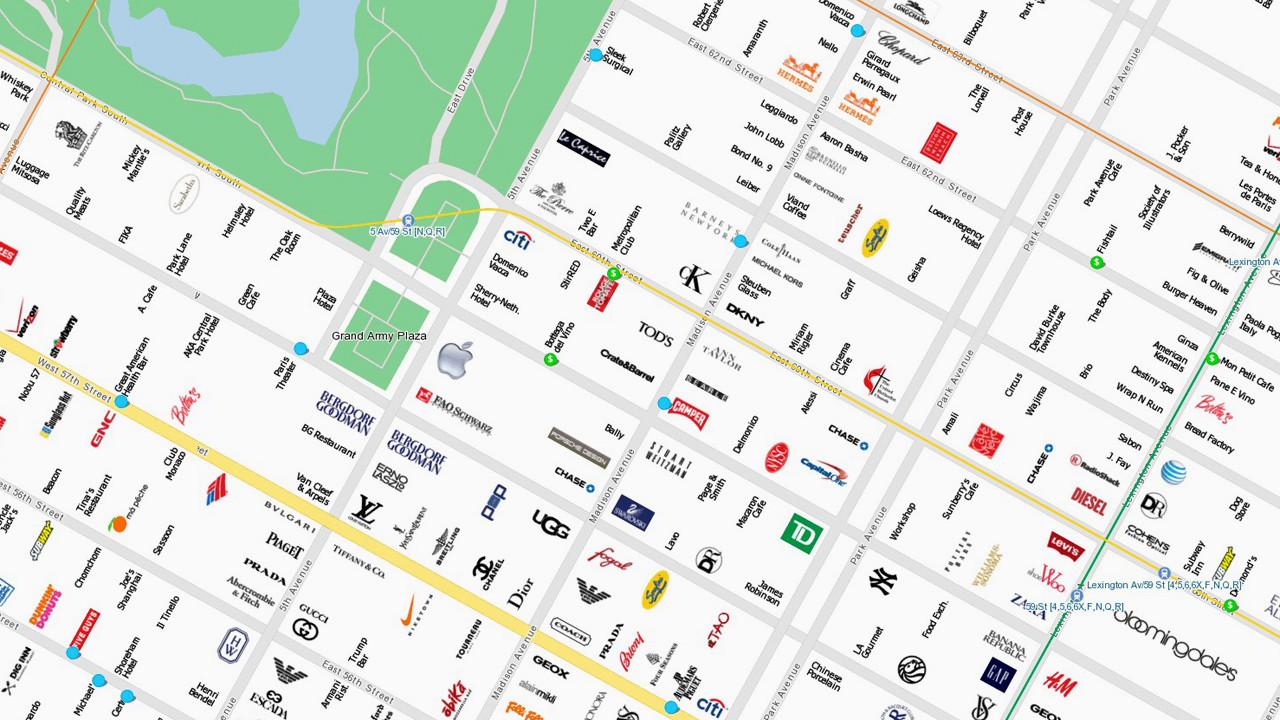 fastcompany:  UI Genius: CityMaps Uses Brand Logos To Make Maps More Useable   UI Genius (Interfaz de Usuario): CityMaps utiliza logotipos de las marcas para hacer los mapas más utilizables