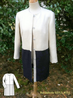 Colorblock spring coat in ivory and navy. Lightweight boucle from Mood Fabrics in NYC. BurdaStyle 03/12 pattern, #111.