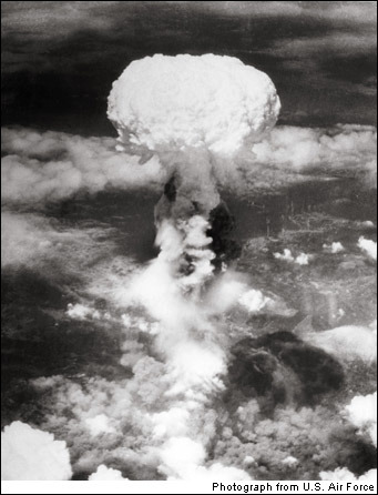 essentialisinvisible:Nagasaki 1945Nothing like the mushroom cloud had ever been seen, not by the general public. It was a suitably awesome image for the power unleashed below. On August 6 the first atomic bomb killed an estimated 80,000 people in the Japanese city of Hiroshima. There was no quick surrender, and three days later a second bomb exploded 500 meters above the ground in Nagasaki. The blast wind, heat rays reaching several thousand degrees and radiation destroyed anything even remotely nearby, killing or injuring as many as 150,000 at the time, and more later. As opposed to the very personal images of war that had brought the pain home, the ones from Japan that were most shocking were those from a longer perspective, showing the enormity of what had occurred.