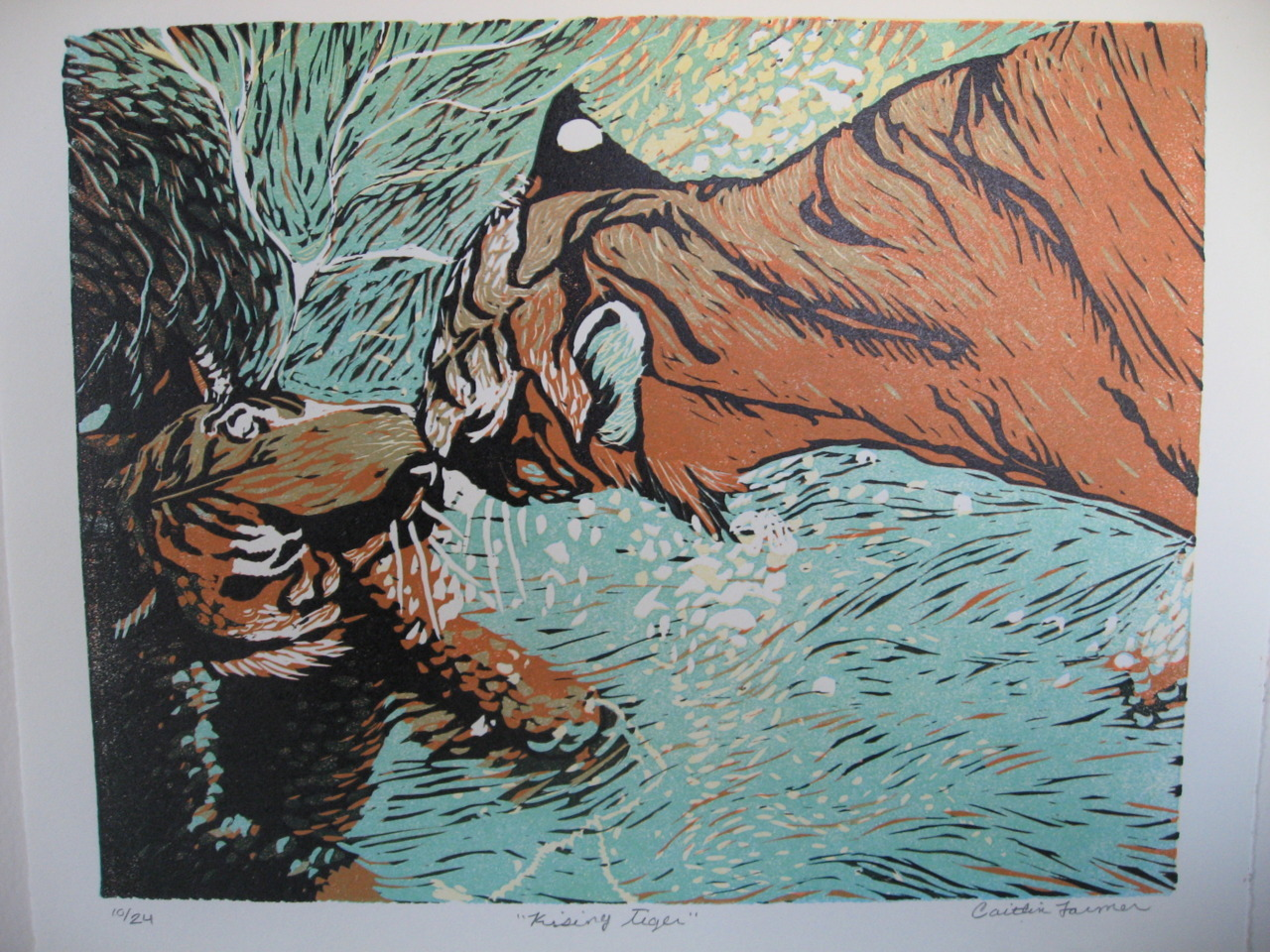 calamitycait:  Kissing Tiger by Caitlin Farmer on Etsy $50. 6 color reduction linocut. 11x14.