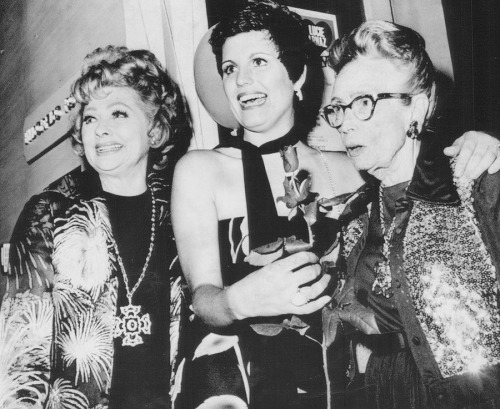 Lucille Ball, her daughter Lucie Arnaz and her mother DeDe photographed backstage at the Seesaw opening, 1974