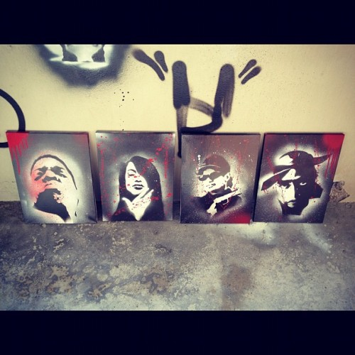 First set of legends of hiphop  for sale all together $300 or individual for $150 each #hiphop #deathrow #art #california #nwa #thuglife #2pac #biggie #Aaliyah  (Taken with instagram)